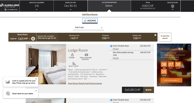 Layer on the Rooms & Rates page reminding visitors of the exclusive offer